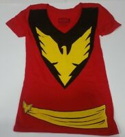 DARK PHOENIX Jean Grey Womens Girls V-Neck Costume T-Shirt Marvel Gray New
