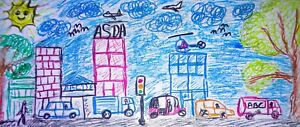 kids drawing Painting busy colorful street life, JPG file