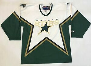 CCM Dallas Stars NHL Hockey Jersey White Men L Sewn Canada blank