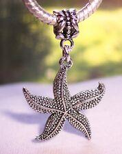 Starfish Seashell Summer Beach Ocean Dangle Bead fits European Charm Bracelets