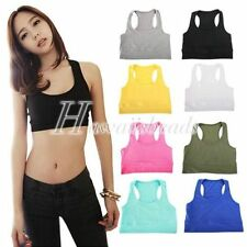 Cotton Blend Regular Size Sleeveless Crop Tops for Women