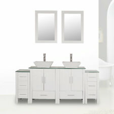 """72"""" White Bathroom Vanity Cabinet Glass Top Double Sink Painted w/ Faucet Mirror"""