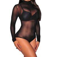 Comfortable Women Rompers Jumpsuit Long Sleeve Bodysuit See Through Bodysuits-/