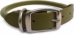 "Auburn Leather - Rolled Round Dog Collar - 18""-22"" - Green"