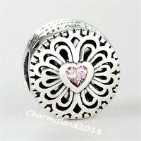 Authentic Pandora 791955 Silver 925 ALE Love & Friendship Pink Charm Bead
