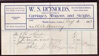 [57284] 1907 INVOICE W.S. REYNOLDS CARRIAGES, WAGONS & SLEIGHS MIDDLETOWN, CONN.