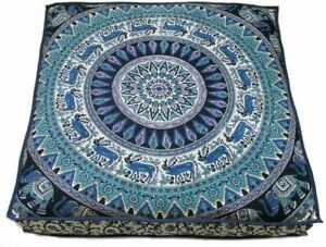 "Indian White Cotton mandala 35"" Cushion Cover Floor Pillow Case Square Decor set"