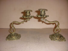 Pair of nice Antique 19thc brass decorated candlesticks figural snakes