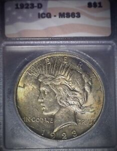 1923-D Peace Silver Dollar, ICG MS63 ,Tougher Date, Nice Gold Toning, Issue Free