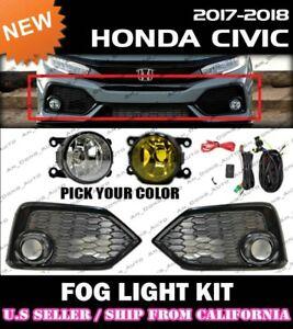 17 18 19 HONDA CIVIC HATCHBACK Fog Light Driving Lamp Kit w/ switch wiring JDM