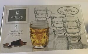 Gibson Home Great Foundations Collection 4 Piece Glass Beer Mug Set - 18 oz