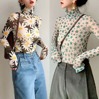 ZANZEA Womens Long Sleeve Blouse Tee Turtleneck Top Stars Floral Printed Shirt
