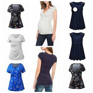 Maternity Nursing T-shirt Pregnant Women Tank Top Polka Dot Blouse Breastfeeding