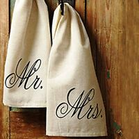 Mr. and Mrs. 19 x 28 inch Flax Linen Fabric Decorative Hand Towel Set of 2