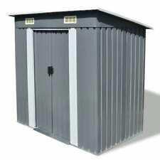 "vidaXl Garden Shed Metal Gray 74.8""x48.8""x71. 3"" Garage Tool Storage House"