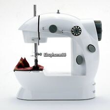 Portable Electric Mini 2-speed Sewing Machine White With Gray Powered Bobbins EH