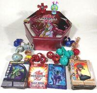 BAKUGAN LOT 18 Battle Brawlers, 33 Magnetic Cards, 29 Non-Magnetic- Holo, Tin