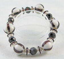 """Black And White Glass & Lampworked Glass Bead Stretch Bracelet 7"""""""