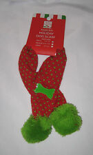 "DOG SCARF Small 6.5""-7.5"" Neck Size Acrylic Knit Red Green Bone Accent New"