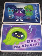 2 postcards Moshi Monsters cards, Groanas Brothers Don't be afraid, spooky Jonas