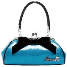 Sourpuss Floozy Purse TURQUOISE Glitter Limited Edition Pin Up Retro Vintage