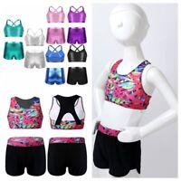 Girls Dance Outfits Kids Ballet Gymnastics Workout Crop Top+Shorts Set Costume