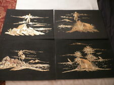 4 Large Marquetry Pictures on Black Cloth