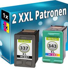 DRUCKER PATRONE für HP 337 XL + HP 343 PhotoSmart C4180 D5160 TINTE PATRONEN