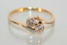 Superb Art Deco 18ct Gold & Platinum 0.22ct Double Diamond Engagement Ring O 1/2