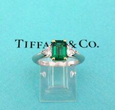 Emerald and Diamond Engagement Ring 6 Tiffany & Co. Platinum18K Gold Three Stone