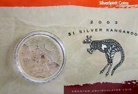 2003 KANGAROO SILVER 1oz Coin Carded