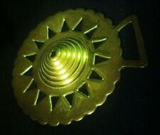RARE Vintage CONICAL RINGED BOSS HEARTS ALL AROUND Harness Brass WOW YOUR WALLS!