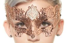 Rose Gold Heart Shaped Venetian Masquerade Mask with Clear Rhinestones