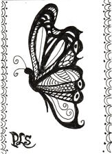 ACEO Zentangle Butterfly Doodle Naive Outsider Design Original Art Penny StewArt