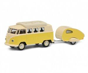 Schuco 20267 - 1/64 VW T1 Camper Avec Caravane - Neuf