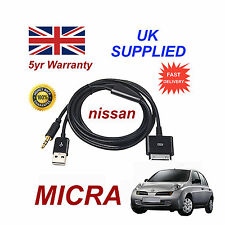For Nissan MICRA iPhone iPod USB & Aux Cable replacement (Black)