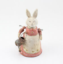 Pink Dress Articulated Bunny with Watering Can Figurine Accent Décor Piece