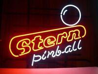 "17""x14""Stern Pinball Neon Sign Light Game Room Wall Hanging Real Glass Tube Art"