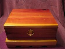 CEDAR JEWELRY BOX WITH  MAROON LINING