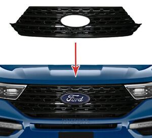 fits 2020-21 Ford Explorer Snap On Black Grille Overlay Full Front Grill Covers