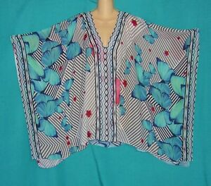 VINTAGE COLLECTION Colorful BUTTERFLY Striped Sheer CHIFFON PONCHO Wrap XXL