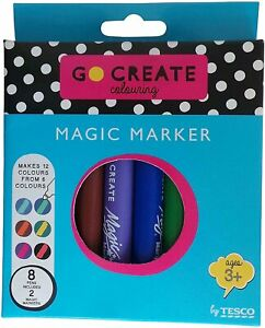 Go Create Magic Marker Pens - 6 Colours and 2 Magic Markers 8 Pens - Brand New