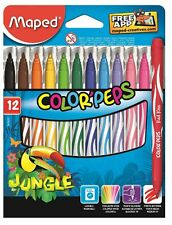 12 Pack Felt Tip Pens Drawing Markers Painting Colouring Art School Jungle Maped