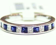 Designer 14K Solid Gold Natural Sapphire Diamond .89CT Engagement Wedding Band