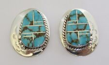 Native American Navajo Sterling #8 Mine Turquoise Earrings with/COA Robert Begay