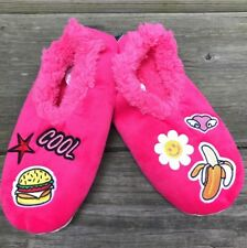 L 9-10 Snoozies Hot Pink Groovy Patches Slippers Shoes Foot Coverings Women NEW