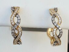 14K Yellow Gold LeVian Chocolate Diamond Braided Hoop Earrings