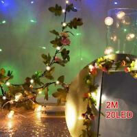 2M 20 LED Flower String Fairy Lights Ivy Vine Wedding&Hanging Decor Garland O8Q9