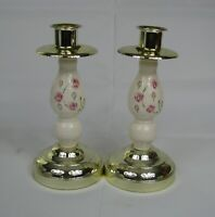 HOMCO Home Interiors Pair of Candlesticks Ceramic Floral & Brass #8850