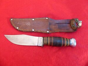 Case Bradford Case's Sportsman nice early 1920 era fixed blade knife & sheath